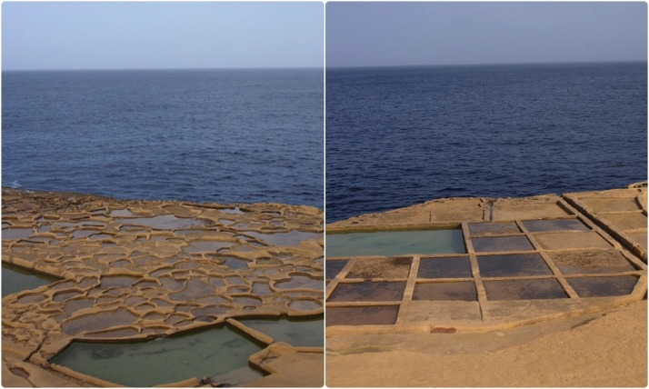 The evolution of man and tools is evident in the shape of the salt pans. Left: the oldest salt pans were created with crude hand tools; right: modern tools allow larger and more regular salt pans