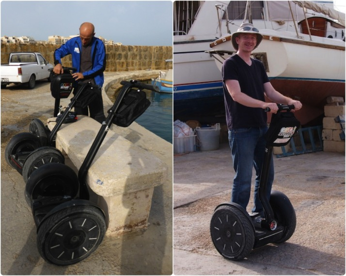 Getting acquainted: Peter our guide makes sure he's packed everything we need for the trip; My Segway and I getting to know each other as we whizz up and down the car park of Marsalforn Bay harbour