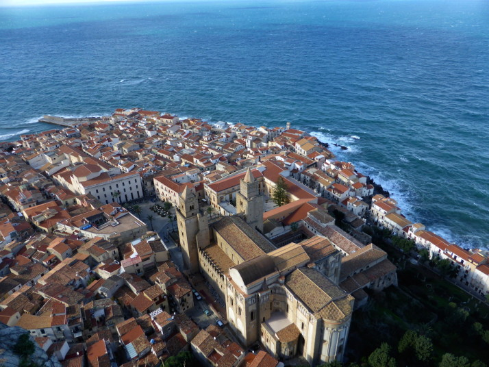 View of Cefalù Cathedral from La Rocca, Cefalù, Sicily