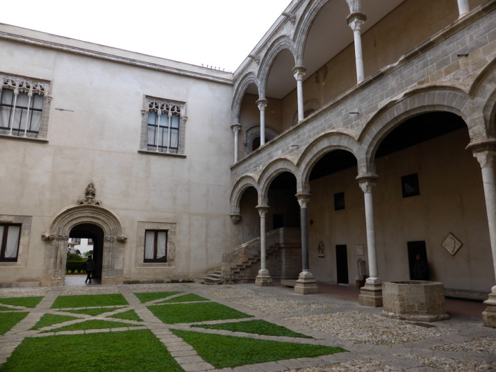 Entrance courtyard of Palazzo Abatellis, Palermo, Sicily