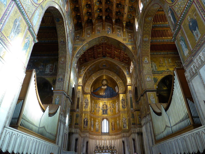 Close up of the apse in Monreale Cathedral, Sicily