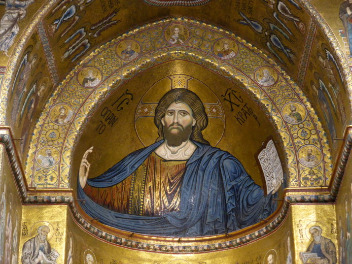 Extreme close up of the Christ Pantocrator, Monreale, Sicily