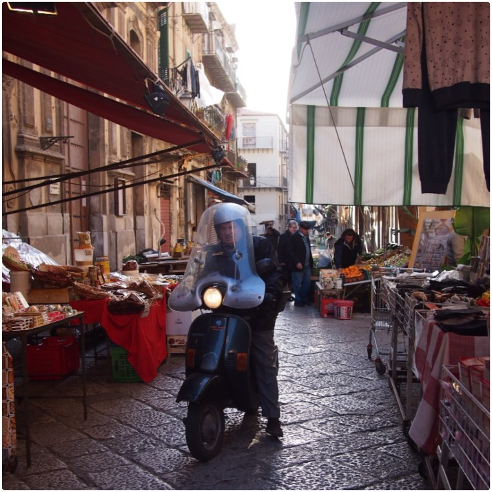 Scooter in Palermo market