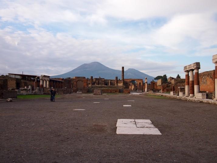 Vesuvius behind Pompeii's Forum