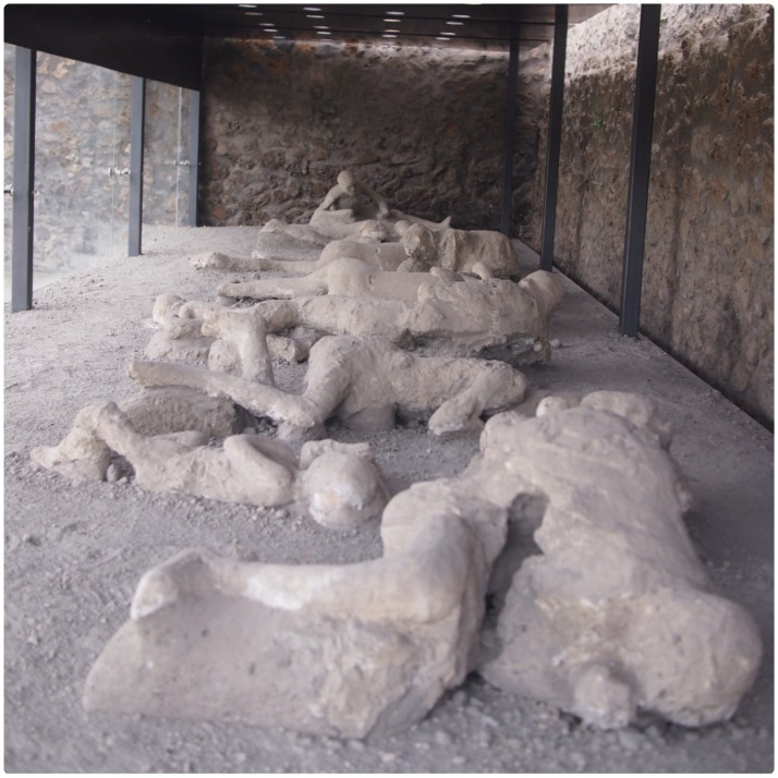 Plaster casts of some of Pompeii's victims
