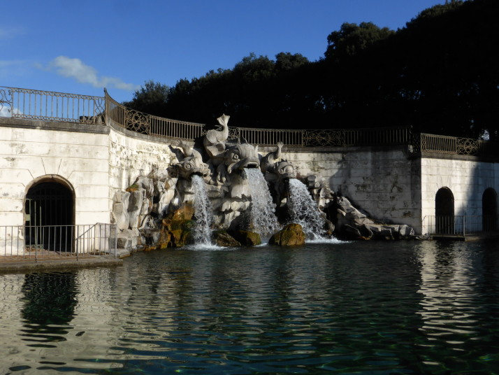 Fountain of the dolphins on the cascade, Royal Palace of Caserta, Naples, Italy!