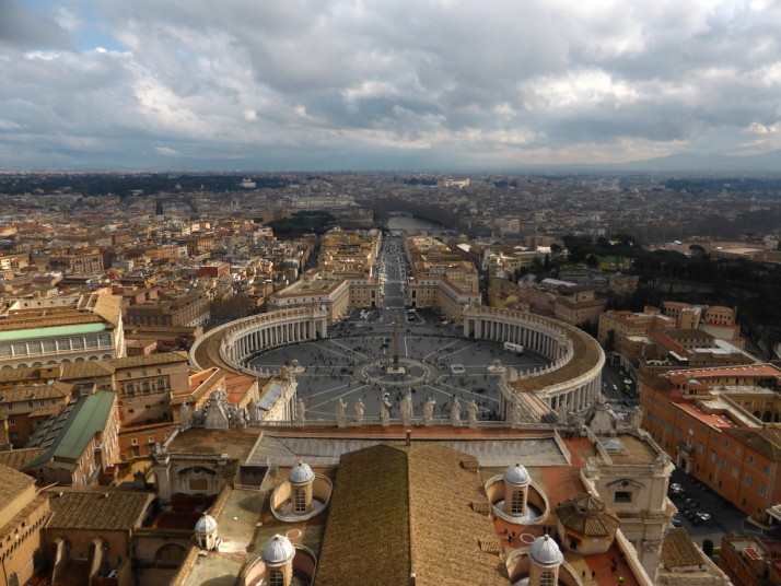 View of St. Peter's Square from the top of the dome, St. Peter's Basilica, Vatican City
