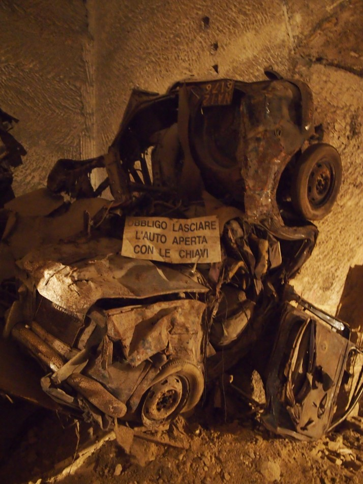 Battered car in the Bourbon Tunnel