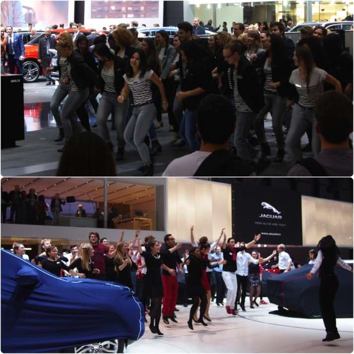 BMW and Jaguar staff dancing, Geneva Motor Show 2015, Switzerland