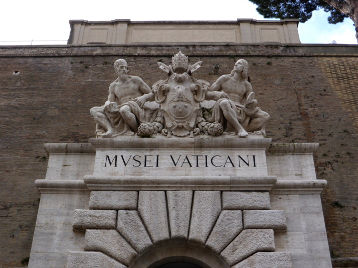 Sculpture above the Vatican Museums exit, Rome, Italy