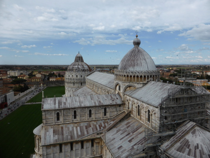 View of from the top of the leaning tower of Pisa, Itlay