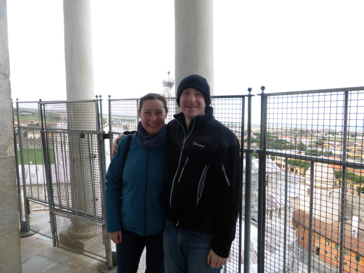 Us at the top of the leaning tower of Pisa, Italy