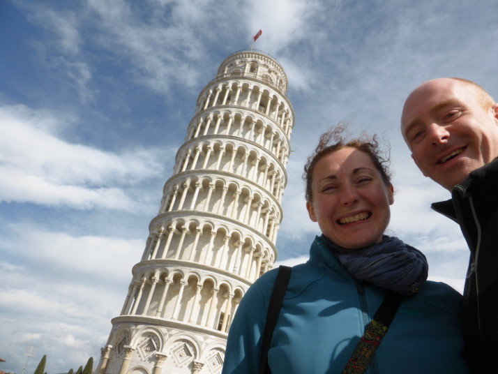 Us with the leaning tower of Pisa, Italy