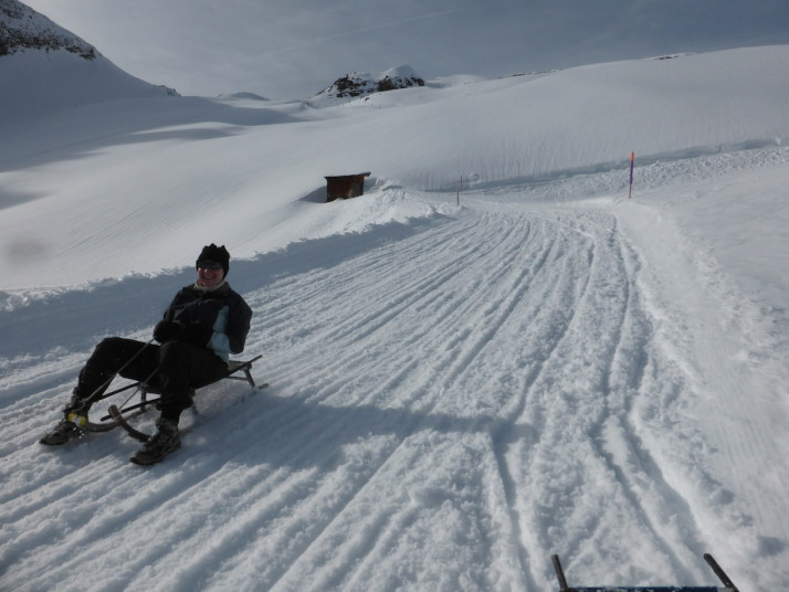 Julie sledging, Switzerland