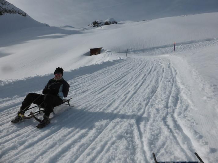 Julie sledging, Switzerland