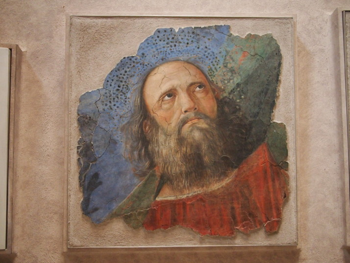 Close up of a rescued fresco from SS. Apostoli in Rome, Vatican Museums, Italy