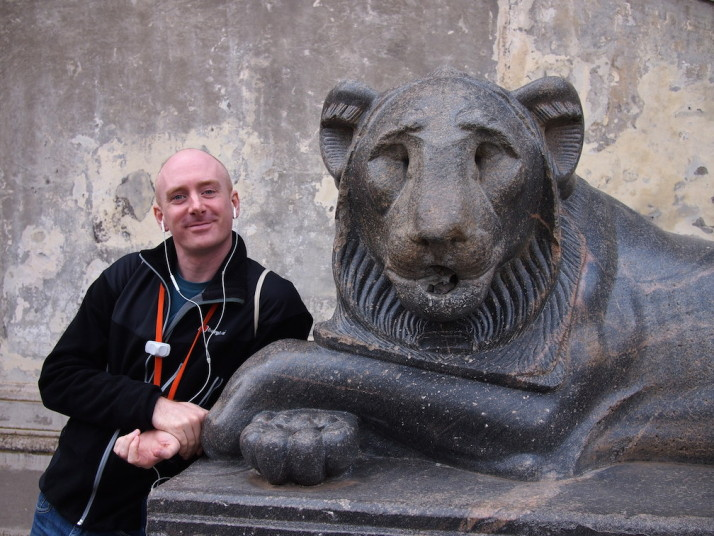 Me with an Nectanebo Egyptian Lion, Vatican Museums, Italy
