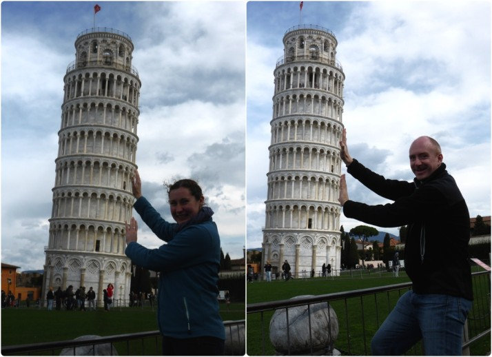 Propping up the leaning tower of Pisa, Italy