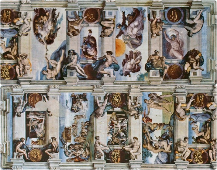 The central frescos of Michelangelo's Sistine Chapel ceiling, Vatican Museums, Italy