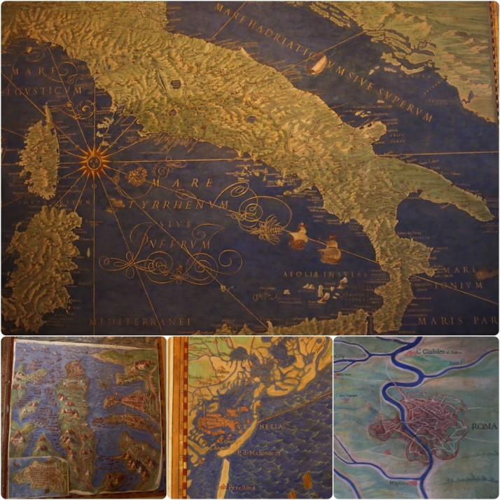Closeup maps in Galleria della Carte Geografiche, Vatican Museums, Italy
