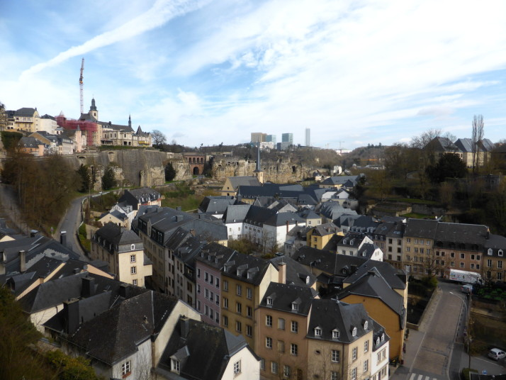 View of the Grund, Casemates Bock and the pont du château, Luxembourg City, Luxembourg