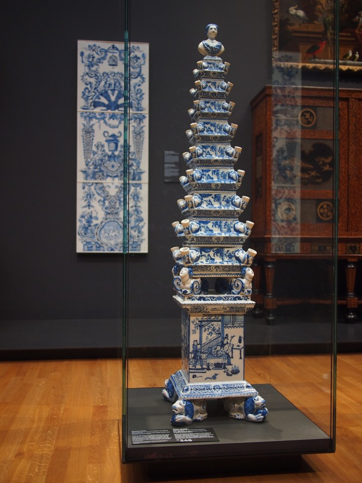 Delftware flower pyramid