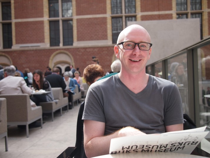 Andrew in Rijksmuseum cafe