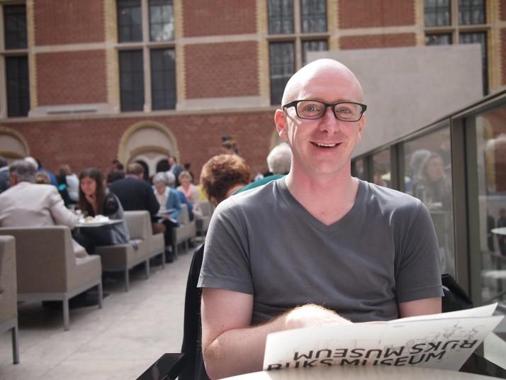 Andrew in Rijksmuseum cafe