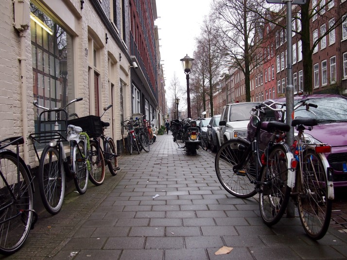 Bicycle parking along the pavement