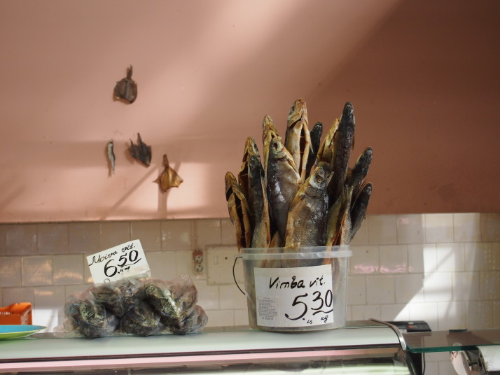Dried fish in Riga's market