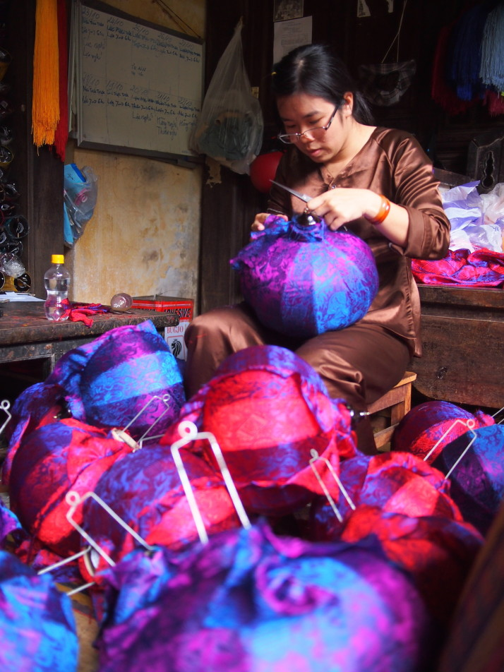 Silk lantern maker in Hoi An