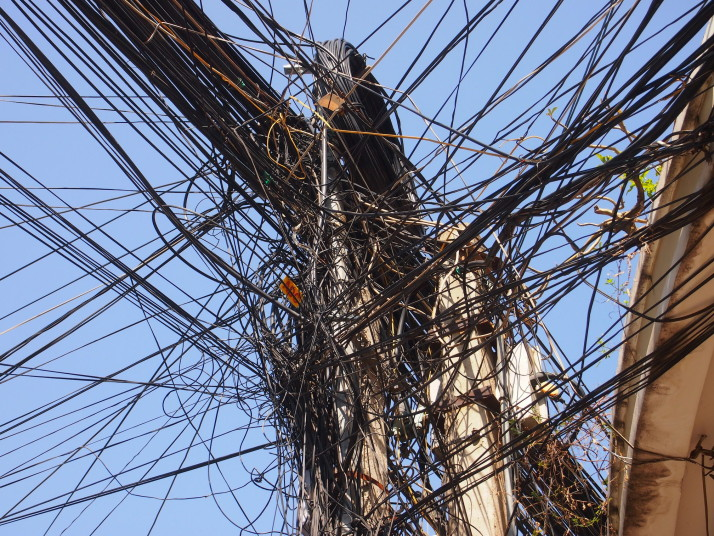 Electric wires in Phnom Penh