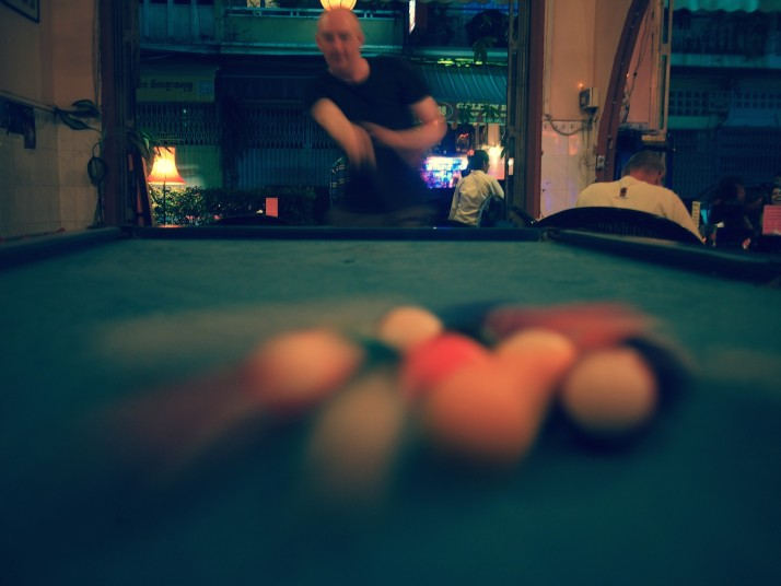 Playing pool in Phnom Penh