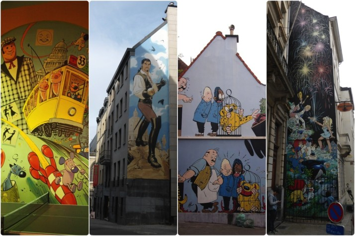 Cartoon wall collage, Brussels