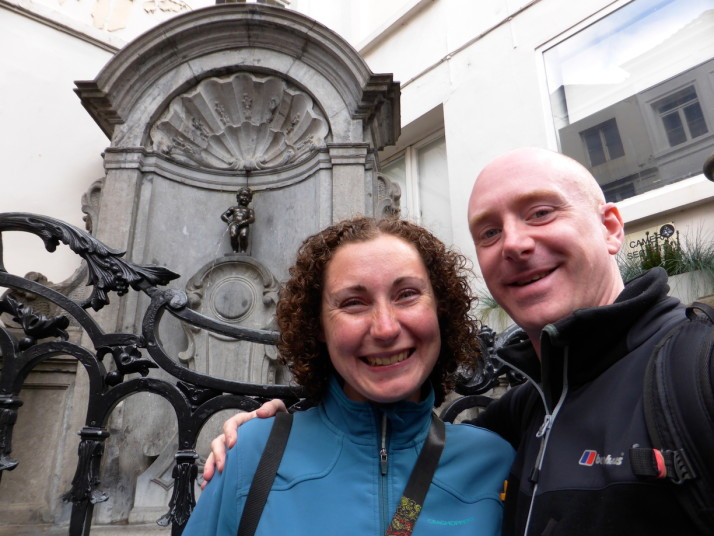 Us with the cheeky Manneken Pis, Brussels