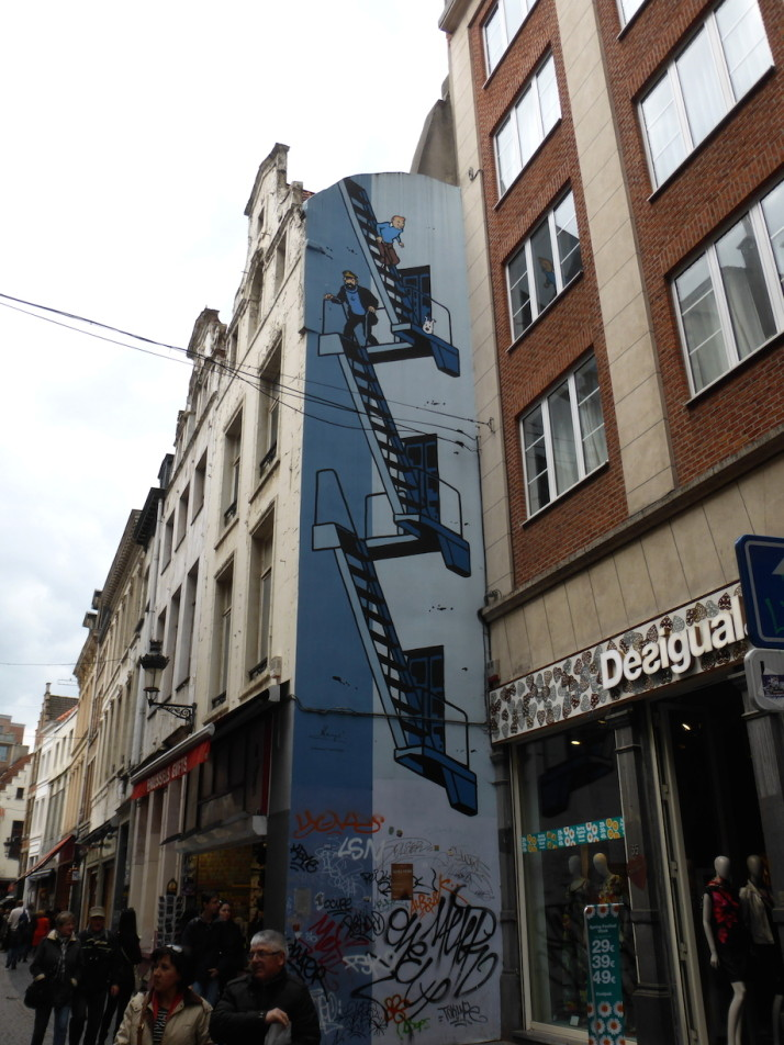 Tintin comic wall, Brussels