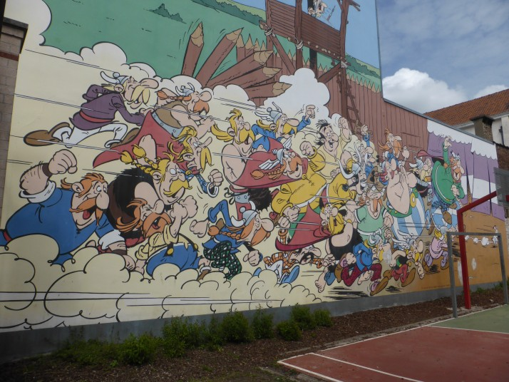 Asterix and Friends comic strip wall