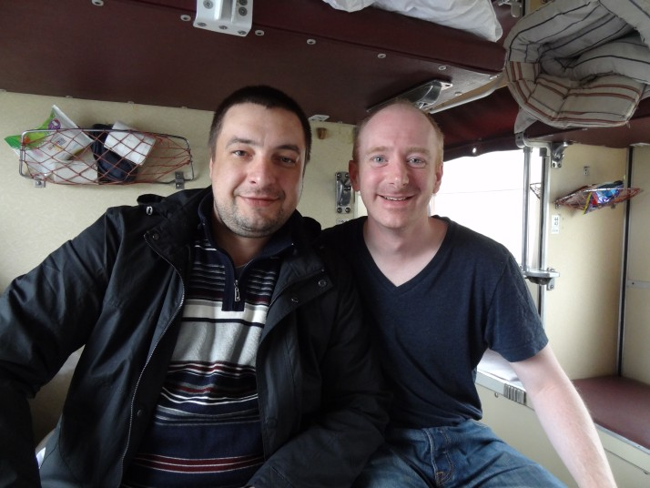 Vasily and Andrew on a Russian train
