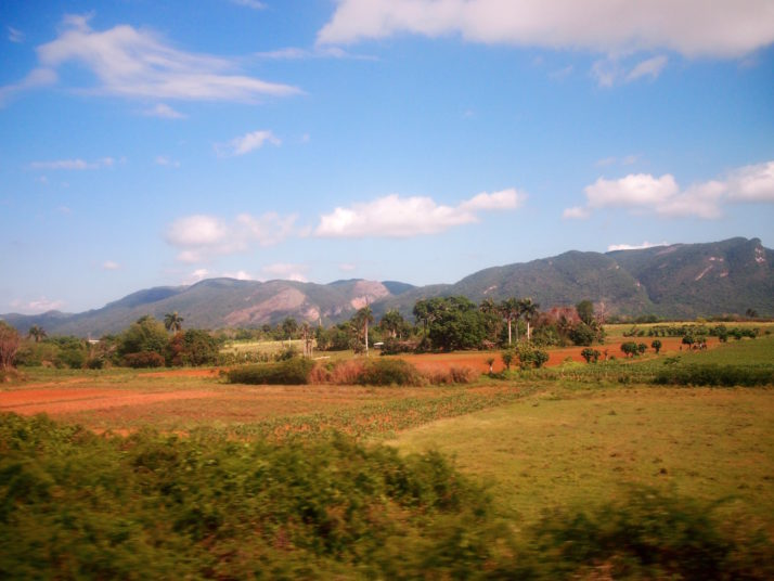 View of the Viñales countryside from the bus