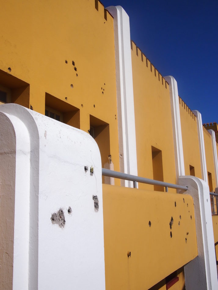 Detail of the attack damage at the Moncada Barracks, Santiago de Cuba