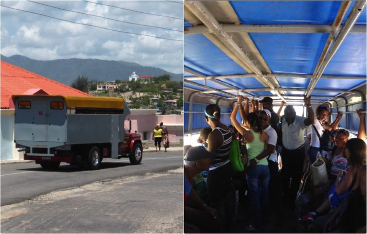 Camion (truck in Spanish) to Castillo del Morro. Picture of the truck and a picture of the inside - two long bench seats and people holding onto the roof rails