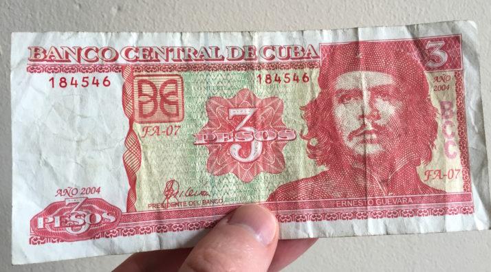 Cuban 3 Nacional Peso banknote featuring Ernesto Che Guevara