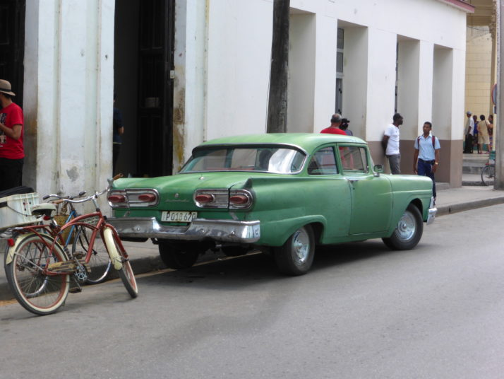 Classic American 1950s green Ford, Camagüey, Cuba