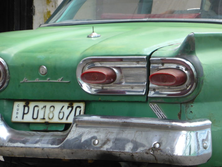 Close up of the rear light cluster, green Ford, Camagüey