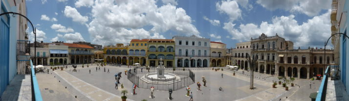 Panorama view of Plaza Vieja in Havana