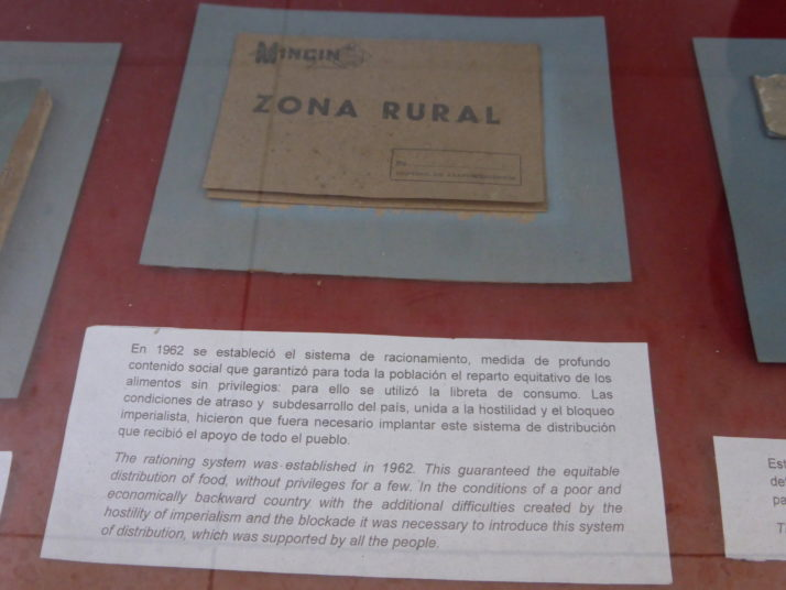 Ration book from the Special Period,  Museo de la Revolución, Havana