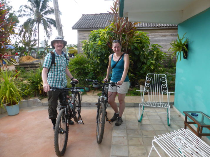Julie and I with mountain bikes in Viñales