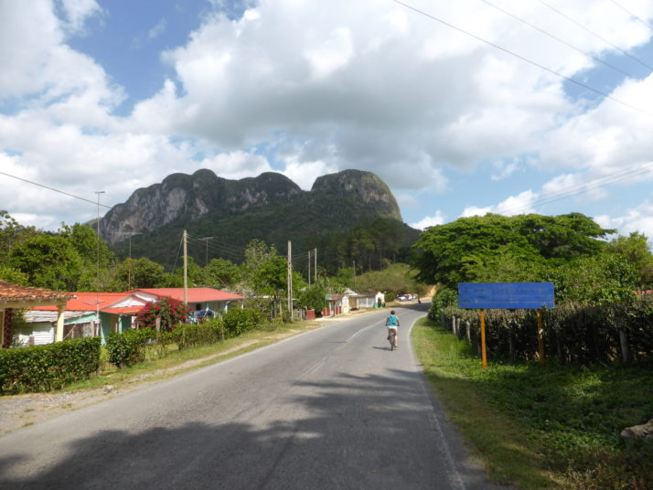 Julie cycling in the Valle de Viñales