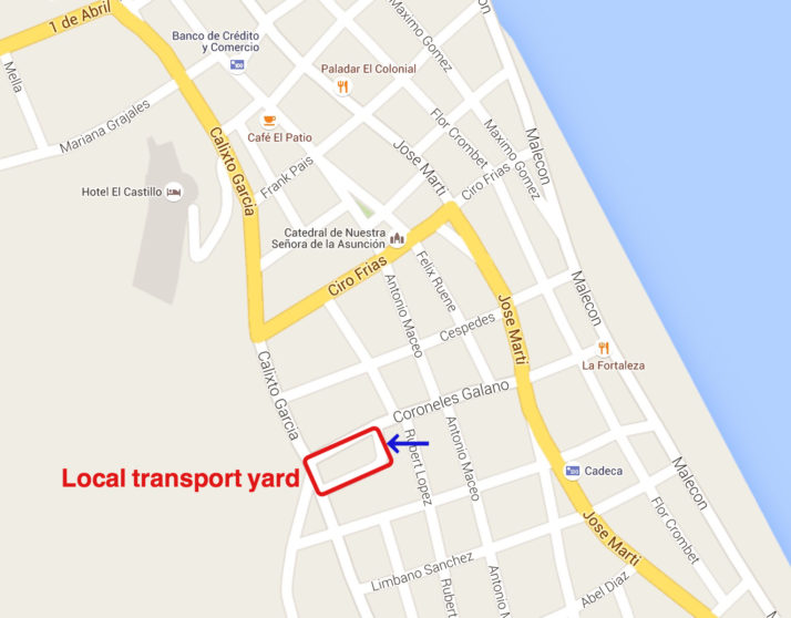 Baracoa local transport yard map