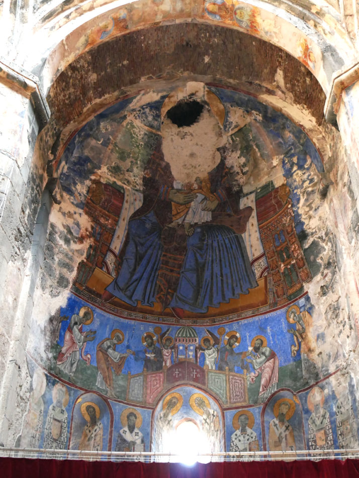 The colourful main nave frescos of Akhtala, Armenia
